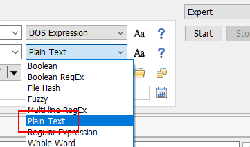 Plain text expression type