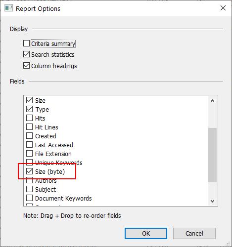 Size - bytes column