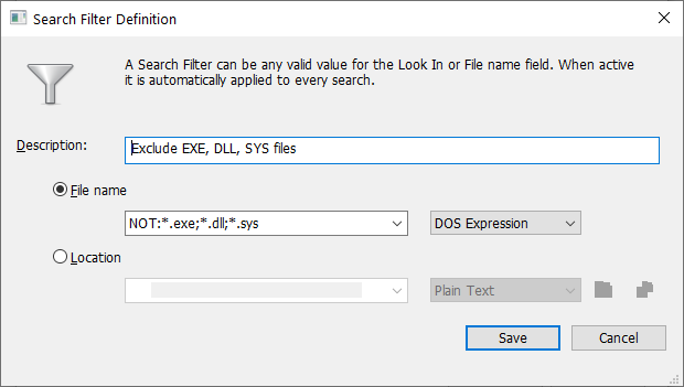 Exclude EXE, DLL, SYS Files