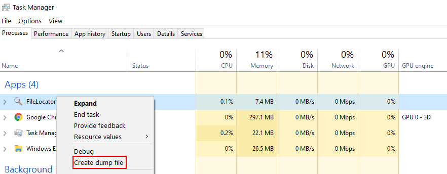 Create dump file