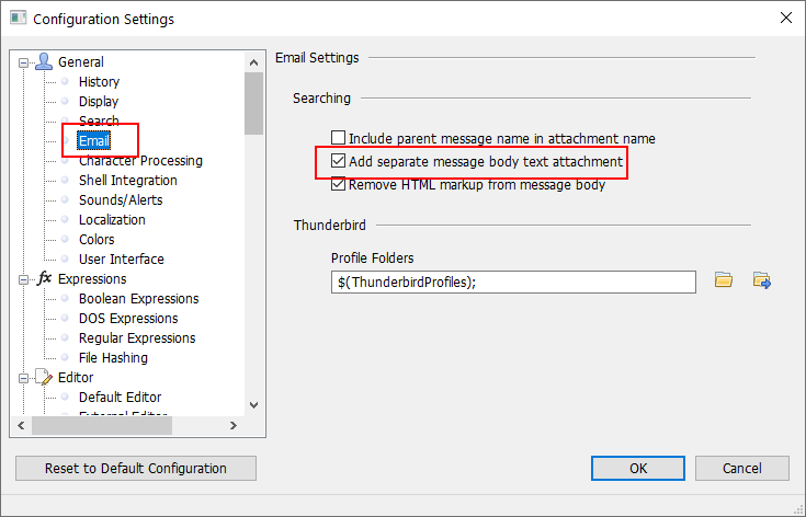 Add separate message body text attachment