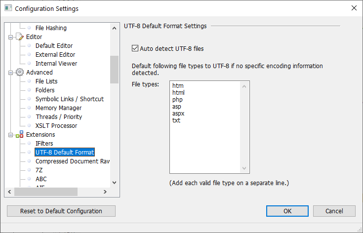 UTF-8 Default Format Settings