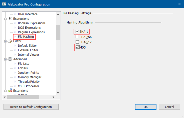 File hashing settings