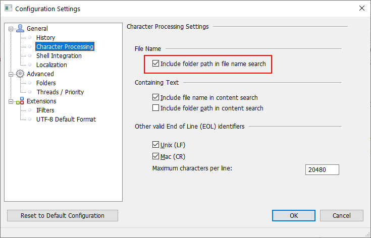 Add folder path as part of file name search
