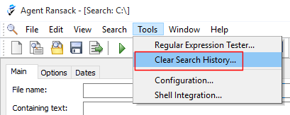 Clear Search History menu option