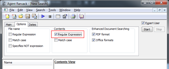 Agent Ransack - Regular Expression option
