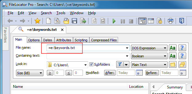 Referencing file list in FileLocator Pro