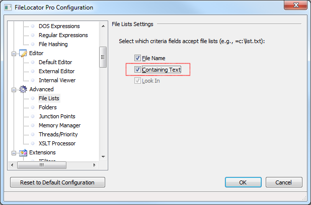 File List Settings