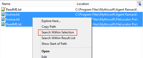 Search within selection