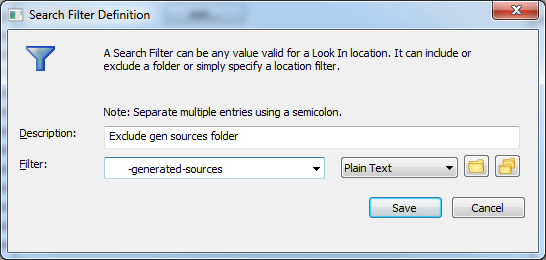 Search filter exclusion