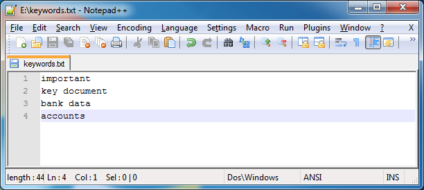 Keyword list in Notepad++